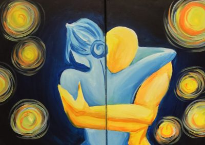 Couples Starry Night Embrace